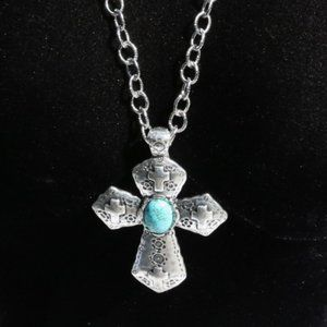 NEW! Long Chunky Boho Turquoise Cross Necklace